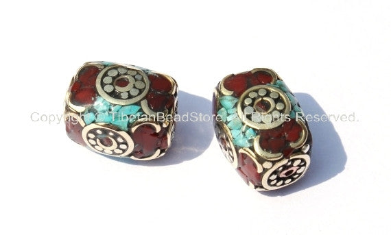 2 Beads - Tibetan Rectangle Box Beads with Brass, Turquoise & Copal Inlays - Unique Ethnic Tibetan Inlay Beads - B272