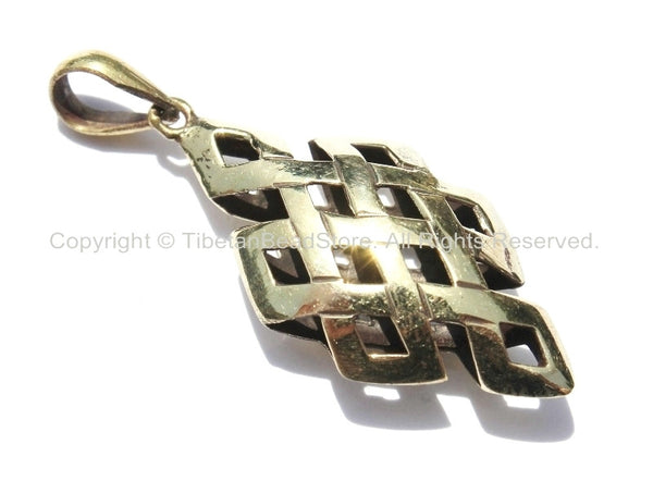 2 PENDANTS - Tibetan Brass Endless Knot Hollow Carved Pendants - Celtic Knot - Infinity Knot - Boho Yoga Buddhist Tibetan Jewelry - WM5310-2
