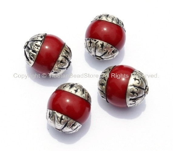 4 beads - Tibetan Red Copal Beads with Tibetan Silver Caps - Tibetan Copal Coral Beads - Ethnic Nepal Tibetan Beads - B958-4