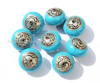 4 Beads - Tibetan Blue Crackle Resin Round Beads with Tibetan Silver Auspicious Conch Caps - Ethnic Beads - B2725-4