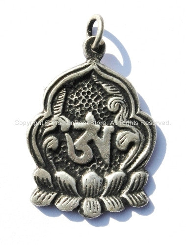 2 PENDANTS - Tibetan Lotus Flower Om Silver Plated Brass Pendant - Tibetan OM Lotus Charms - Yoga Jewelry - WM650-2