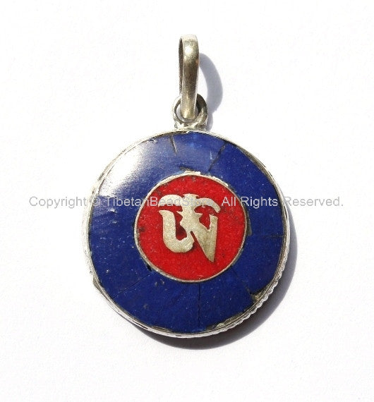 Tibetan Om Pendant with Lapis & Copal Coral Inlays - Om Aum Ohm Mantra Pendant - Buddhist Boho Yoga Meditation Jewelry - WM2756