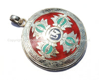 92.5 Sterling Silver Handcrafted Tibetan OM Mantra & Double Vajra Pendant with Turquoise, Coral, Lapis Inlays - Tibetan Jewelry - SS129