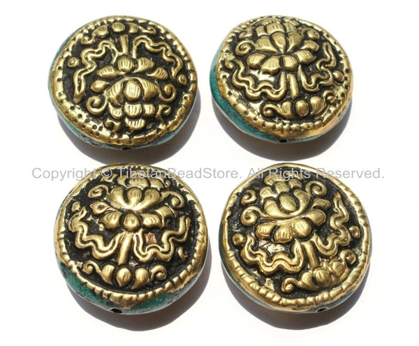 4 Beads - Big Tibetan Repousse Carved Brass Auspicious Lotus Round Disc Shape Beads with Turquoise Side Inlays - Focal Pendant Bead- B2275-4
