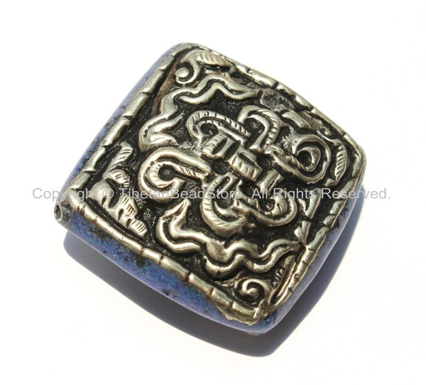 1 Bead - Large Tibetan Repousse Tibetan Silver Endless Knot Bead with Lapis Side Inlays - Big Square Diamond Shape Focal Bead - B2258-1