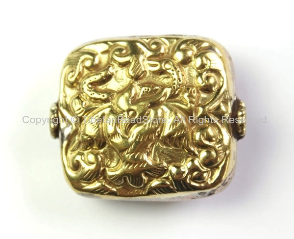 Tibetan Bead - Tibetan Square Shape Brass Focal Metal Bead with Repousse Carved Bird & Snake Details - 1 Bead -Ethnic Tibetan Bead - B2413-1