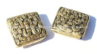2 BEADS - Tibetan Repousse Brass Endless Knot Square Focal Beads - Infinity Knot - Unique Ethnic Metal Beads - B1685-2