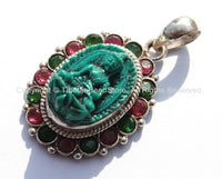 92.5 Sterling Silver & Green Buddha Tibetan Pendant with Emerald, Ruby Inlays - Buddhist Buddha Sterling Silver Tibetan Jewelry - SS125