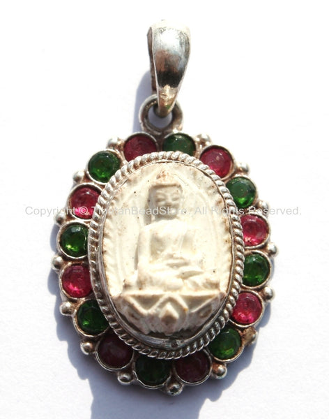 92.5 Sterling Silver & White Buddha Tibetan Pendant with Emerald, Ruby Inlays - Buddhist Buddha Sterling Silver Tibetan Jewelry - SS123