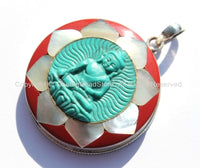92.5 Sterling Silver & Hand Carved Turquoise Green Resin Buddha Pendant in Hand Carved Shell Pearl and Coral Inlaid Lotus - SS103