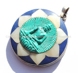92.5 Sterling Silver & Hand Carved Turquoise Green Resin Buddha Pendant in Hand Carved Shell Pearl and Lapis Inlaid Lotus - SS99