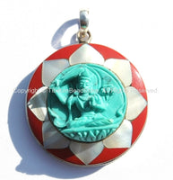 92.5 Sterling Silver & Hand Carved Turquoise Green Resin Manjushri Buddha Pendant in Hand Carved Shell Pearl and Coral Inlaid Lotus - SS100