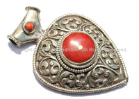 Large Ethnic Tibetan Repousse Carved Heart Shaped Pendant with Coral Inlays - Ethnic Tribal Tibetan Jewelry Pendant - WM5444