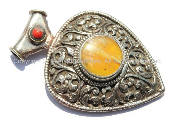 Large Ethnic Tibetan Pendant with Repousse Carved Floral Details, Amber & Coral Inlays - Large Ethnic Tribal Tibetan Pendant - WM5437