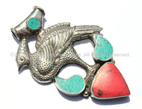 Large Tibetan Peacock Pendant with Turquoise & Coral Inlays - Handmade Repousse Tibetan Silver Peacock Tibetan Amulet Pendant - WM5409