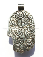 Tibetan Repousse Tibetan Silver Buddha Hand Pendant with Faceted Quartz Inlay & Lotus Floral Details - Buddha Hand - Hamsa Hand - WM6008