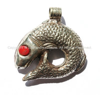 LARGE Reversible Tibetan Fish Pendant with Coral Inlays - Large Silver Fish Focal Pendant - Ethnic Tribal Nepal Tibetan Jewelry - WM2458