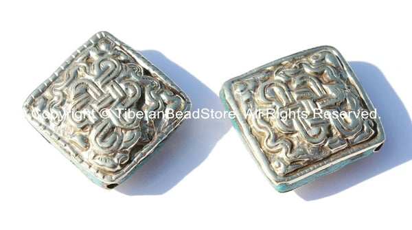 2 beads - Tibetan Repousse Tibetan Silver Endless Knot Square Focal Beads with Turquoise Inlays - Infinity Knot - B1705