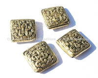 4 BEADS - Tibetan Repousse Brass Endless Knot Square Focal Beads - Infinity Knot - Unique Ethnic Metal Beads - B1685-4