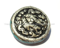 Repousse Tibetan Silver Auspicious Double Fish Round Disc Shape Tibetan Bead with Pressed Stone Side Inlay - 1BEAD - Unique Beads - B2245-1