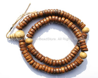 108 beads - Antiqued Tibetan Flat Disc Bone Mala Prayer Beads with Conch Markers - Natural Antiqued Animal Bone Tibetan Disc Beads - PB92 - TibetanBeadStore