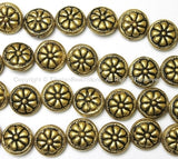 2 BEADS - Tibetan Floral Repousse Brass Beads - Ethnic Handmade Round Button Disc Beads - B1441-2