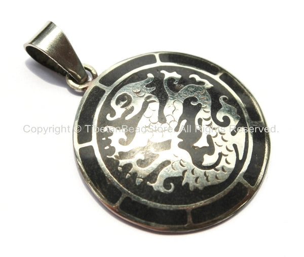 Tibetan Carved Dragon Medallion Pendant with Black Inlay - WM1306-1