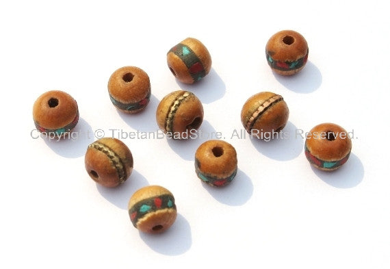 10 beads - 9-10mm Size Tibetan Wood Inlaid Beads with Turquoise & Coral Inlays - LPB15-10