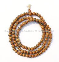 9-10mm Size Tibetan Wooden Prayer Beads - Wood Mala Prayer Beads with Turquoise, Coral, Brass & Copper Inlays - PB15