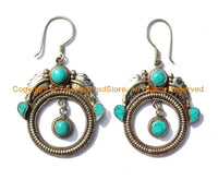 Tibetan Ethnic Earrings with Turquoise Inlays - Handmade Ethnic Tibetan Earrings- E10