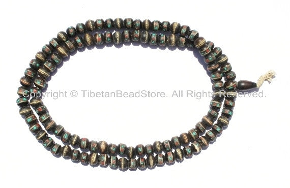 108 beads - Tibetan Dark Bone Mala Prayer Beads with Brass, Copper, Turquoise & Copal Inlays - 10mm size Tibetan Black Bone Mala - PB10 - TibetanBeadStore