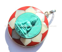 92.5 Sterling Silver & Hand Carved Turquoise Green Resin Buddha Pendant in Hand Carved Shell Pearl and Coral Inlaid Lotus - SS102