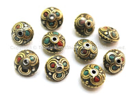 10 BEADS - Tibetan Floral Beads with Brass, Turquoise & Coral Inlays - Ethnic Tribal Tibetan Beads - B1612-10