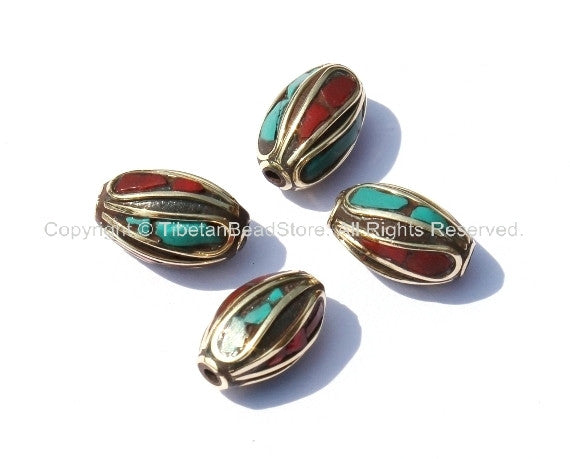 4 Beads - Nepalese Tibetan Oblong Beads with Brass, Turquoise & Coral Inlays - B285-4