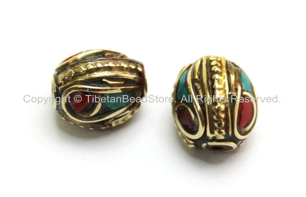 2 BEADS - Tibetan Oval Beads with Brass, Turquoise & Coral Inlays -9mm x 12mm -  Ethnic Tibetan Beads - B1605-2