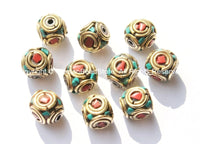 10 BEADS - Tibetan Beads with Brass, Turquoise & Copal Coral Inlays - Tibetan Beads with Brass Circles - B1775-10