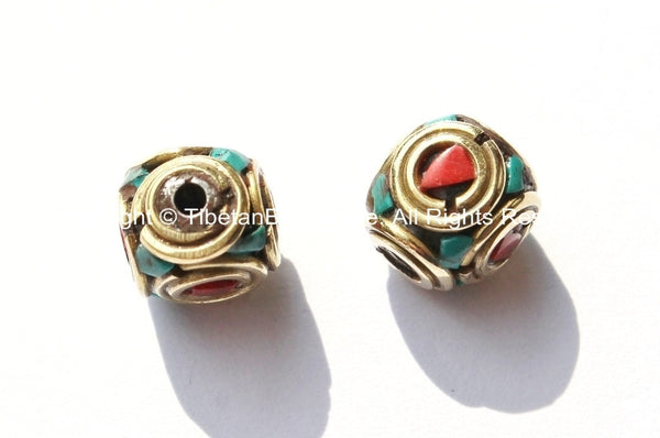 2 BEADS - Tibetan Beads with Brass, Turquoise & Copal Coral Inlays - Tibetan Cube Beads with Brass Circles - B1775-2