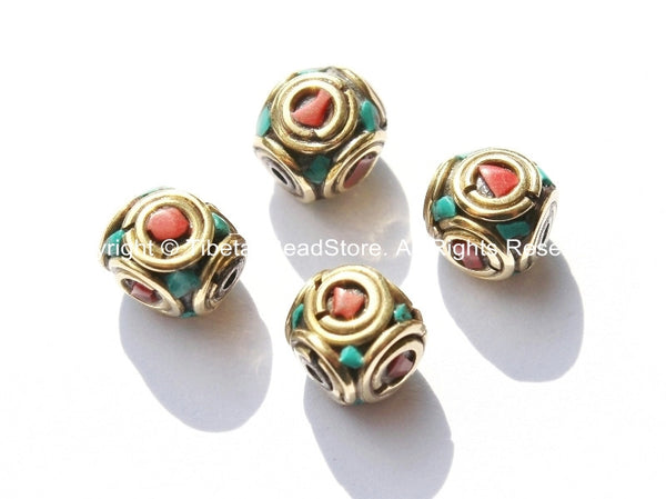 4 BEADS - Tibetan Beads with Brass, Turquoise & Copal Coral Inlays - Tibetan Cube Beads with Brass Circles - B1775-4