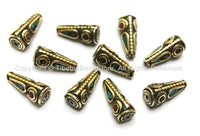 10 beads - Tibetan Cone Beads with Brass, Turquoise & Coral Inlays - Ethnic Tribal Tibetan Brass Inlay Beads - B1610-10