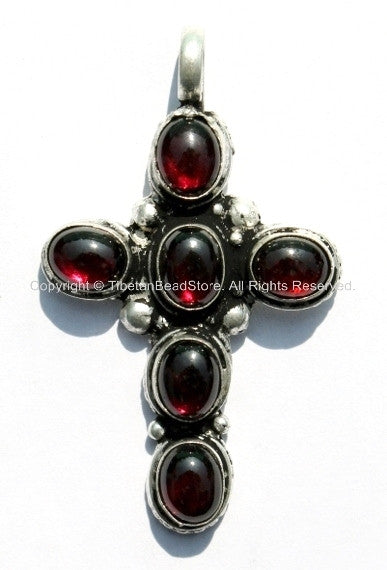 Garnet Cross Pendant - Tibetan Cross Pendant with Onyx Garnet Inlays - Ethnic Nepal Tibetan Handmade Jewelry -  WM239