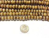 Antiqued Bone Mala Tibetan Prayer Beads with Brass Inlays -108 BEADS - Tibetan Prayer Beads Mala Making Supplies - PB88A