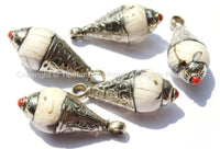 Ethnic Tibetan Antiqued Conch Shell Drop Charm Pendant with Carved Tibetan Silver Caps & Coral Accent - 1 PENDANT - WM6031-1