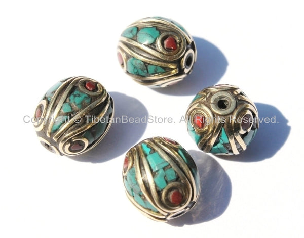 4 BEADS - Fine Handmade Oval Shaped Tibetan Beads with Brass, Turquoise & Coral Inlays - Ethnic Nepal Tibetan Beads - B2557-4