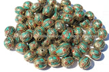 10 BEADS - Fine Handmade Oval Shaped Tibetan Beads with Brass, Turquoise & Coral Inlays - Ethnic Nepal Tibetan Beads - B2557-10