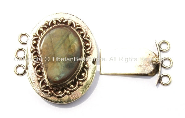 AS IS OOAK Large Tibetan Brass Clasp with Labradorite Inlay Ethnic Tribal Tibetan Clasps-Tibetan Beads- Tibetan Bead Pendant Jewelry - B2671