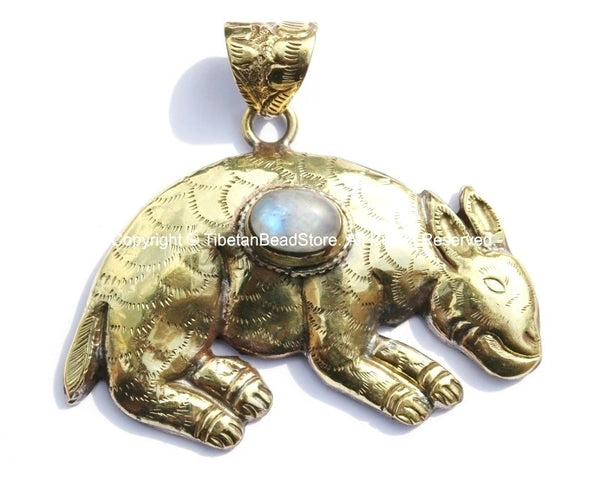 Large Tibetan Brass Animal Pendant with Moonstone Gemstone Inlay - Brass Repousse Animal - Tibetan Jewelry - Tibetan Pendant - WM5397