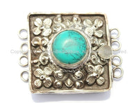 Ethnic Tibetan Repousse Carved Tibetan Silver Clasp with Turquoise Center Inlay & Floral Details - Focal Tibetan Clasp - B2717