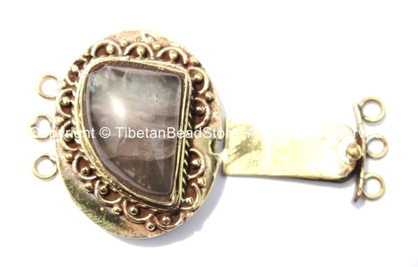 OOAK LARGE Tibetan Brass Clasp with Rose Quartz Inlay - Ethnic Tribal Nepal Tibetan Box Clasps - Tibetan Beads - Tibetan Clasps - B2663