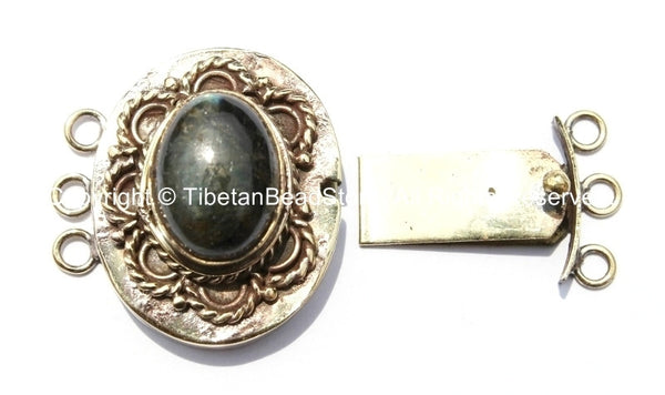 OOAK Tibetan Brass Clasp with Labradorite Inlay - Handmade Ethnic Clasps - Nepal Tibetan Jewelry - Tibetan Beads - Findings & Clasps - B2707