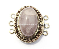 OOAK Tibetan Handmade Brass Clasp with Rose Quartz Inlay - Handmade Findings -  Tibetan Jewelry - Tibetan Beads - Ethnic Clasps - B2677